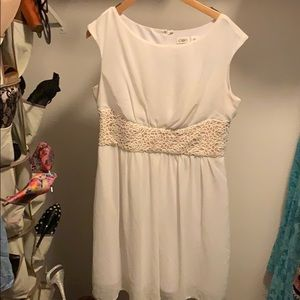 White fitted waist dress